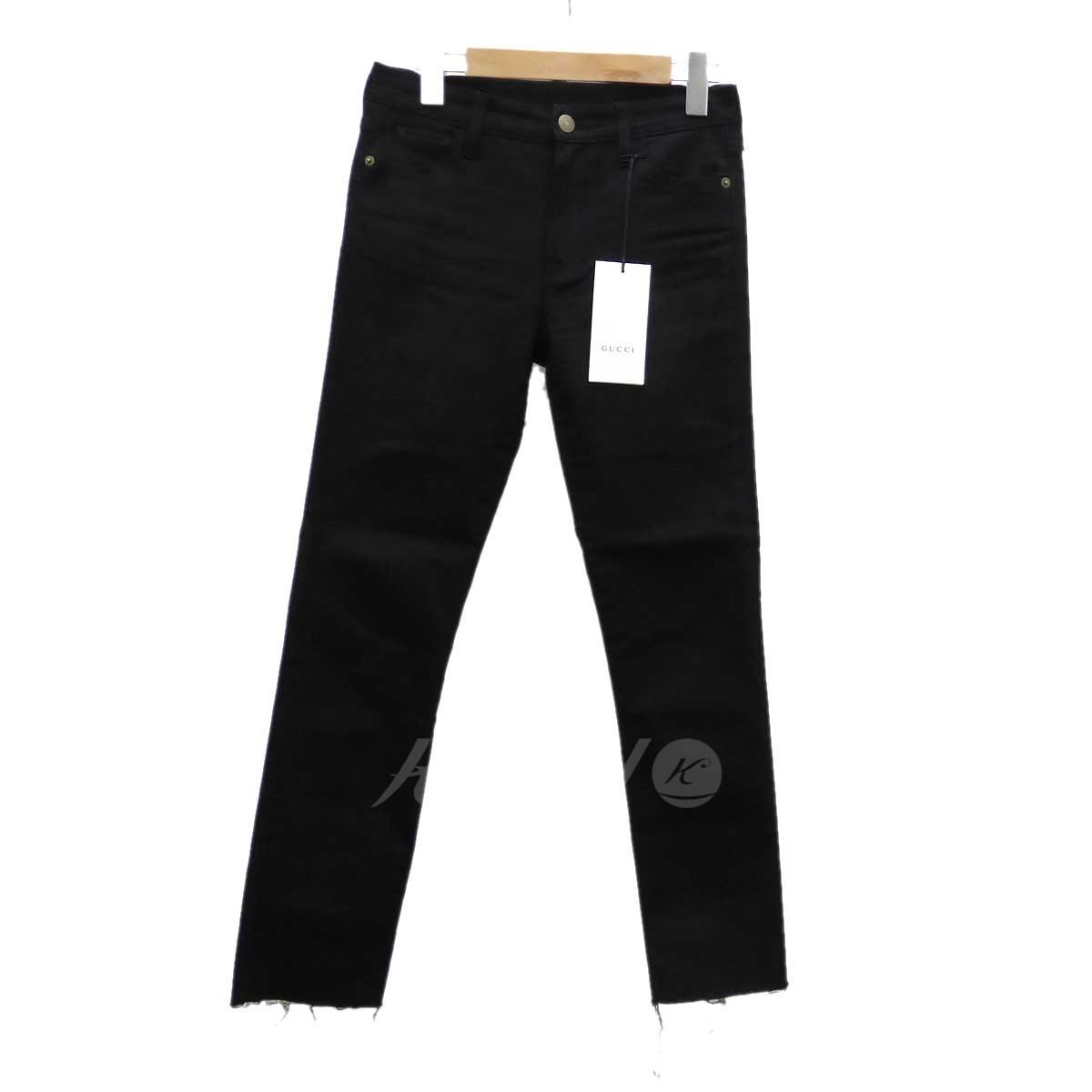 【中古】GUCCI パンサーエンブレムカットオフパンツ ブラック サイズ:W25 【110319】(グッチ)