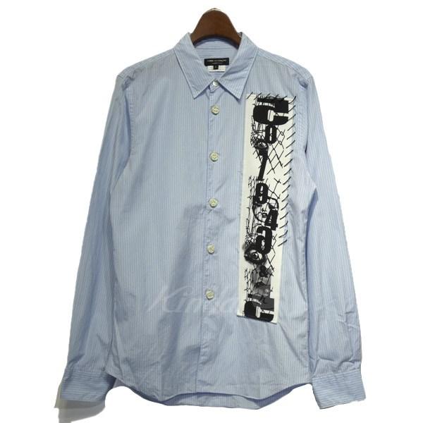 【中古】COMME des GARCONS HOMME PLUS 2013SS ワッペン装飾ストライプシャツ ブルー サイズ:S 【送料無料】 【110319】(コムデギャルソンオムプリュス)