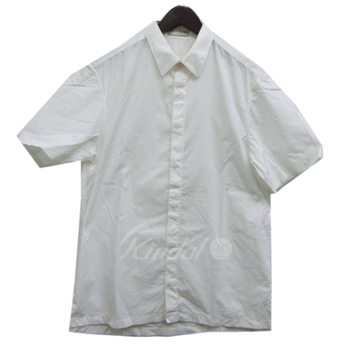 【中古】BALENCIAGA 16SS比翼半袖シャツ ホワイト サイズ:38 【送料無料】 【110319】(バレンシアガ)