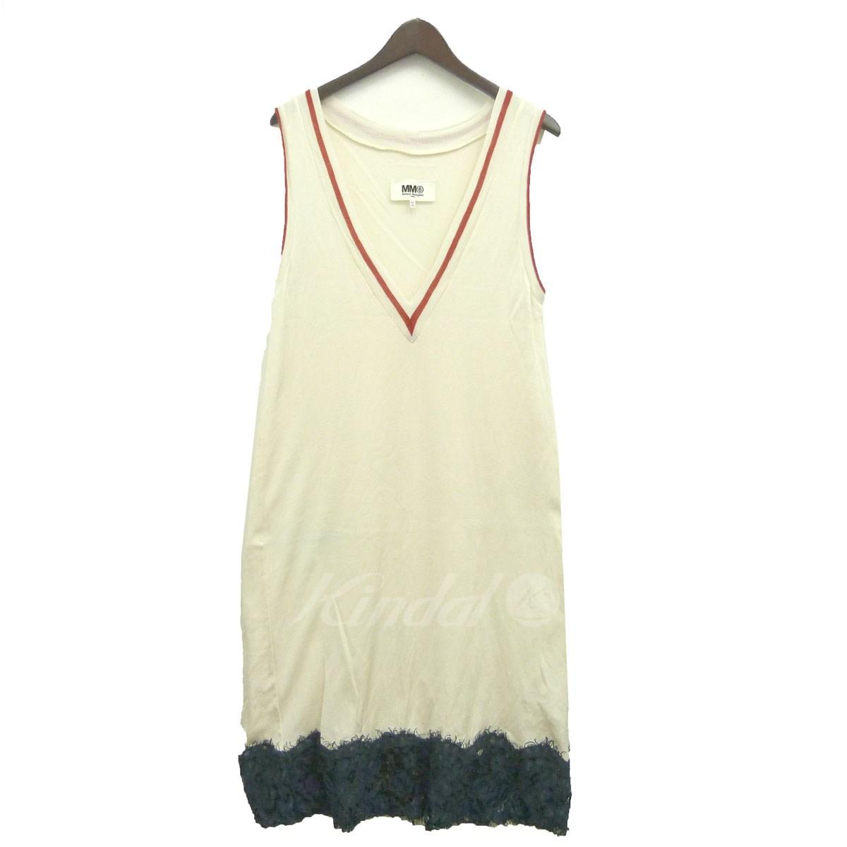 【中古】MM6 17SS裾レースノースリーブワンピース ホワイト×グリーン サイズ:M 【送料無料】 【110319】(エムエムシックス)