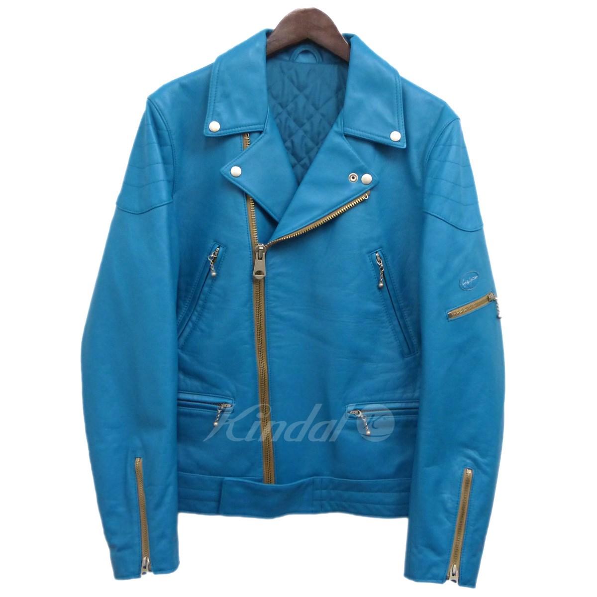【中古】YOHJI YAMAMOTO pour homme 17AWレザーダブルライダースジャケット ターコイズブルー サイズ:3 【送料無料】 【110319】(ヨウジヤマモトプールオム)