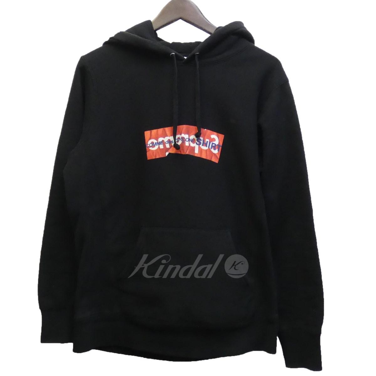 【中古】SUPREME×CdG SHIRT 17SS 「Box Logo Hooded Sweatshirt」 BOXロゴプルオーバーパーカー ブラック サイズ:S 【送料無料】 【110319】(シュプリーム コムデギャルソンシャツ)