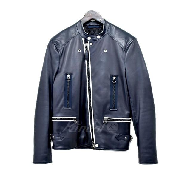 【中古】LANVIN ダブルライダースジャケット ネイビー サイズ:44 【送料無料】 【120319】(ランバン)