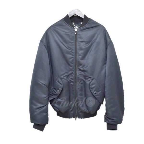 【中古】BALENCIAGA 17AW  bomber jacket ボンバージャケット フライトジャケット ネイビー サイズ:46 【送料無料】 【120319】(バレンシアガ)