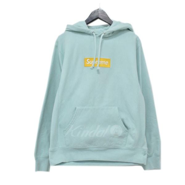 【中古】SUPREME 17AW Box Logo Hooded Sweatshirt ボックスロゴプルオーバーパーカー ライトブルー サイズ:M 【120319】(シュプリーム)