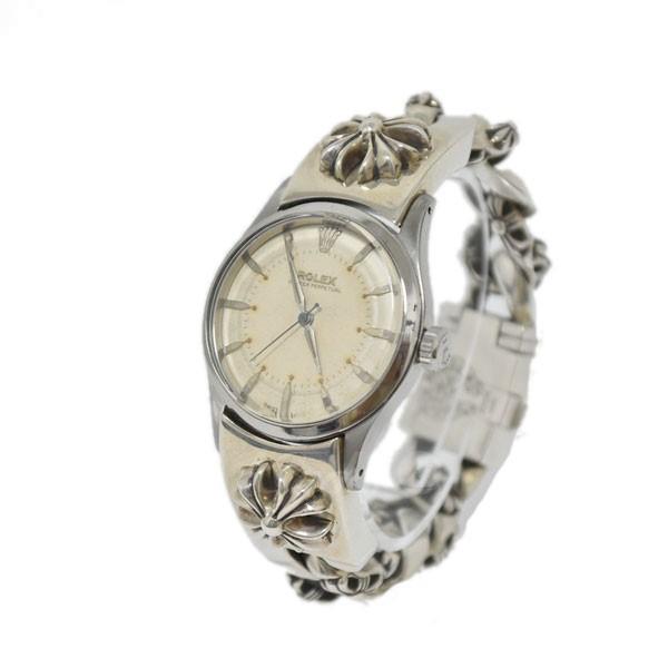 【中古】CHROME HEARTS×ROLEX RLX CHX FNCY BOX 7640 ファンシーチェーン オイスターパーペチュアル腕時計 シルバー 【送料無料】 【120319】(クロムハーツ ロレックス)