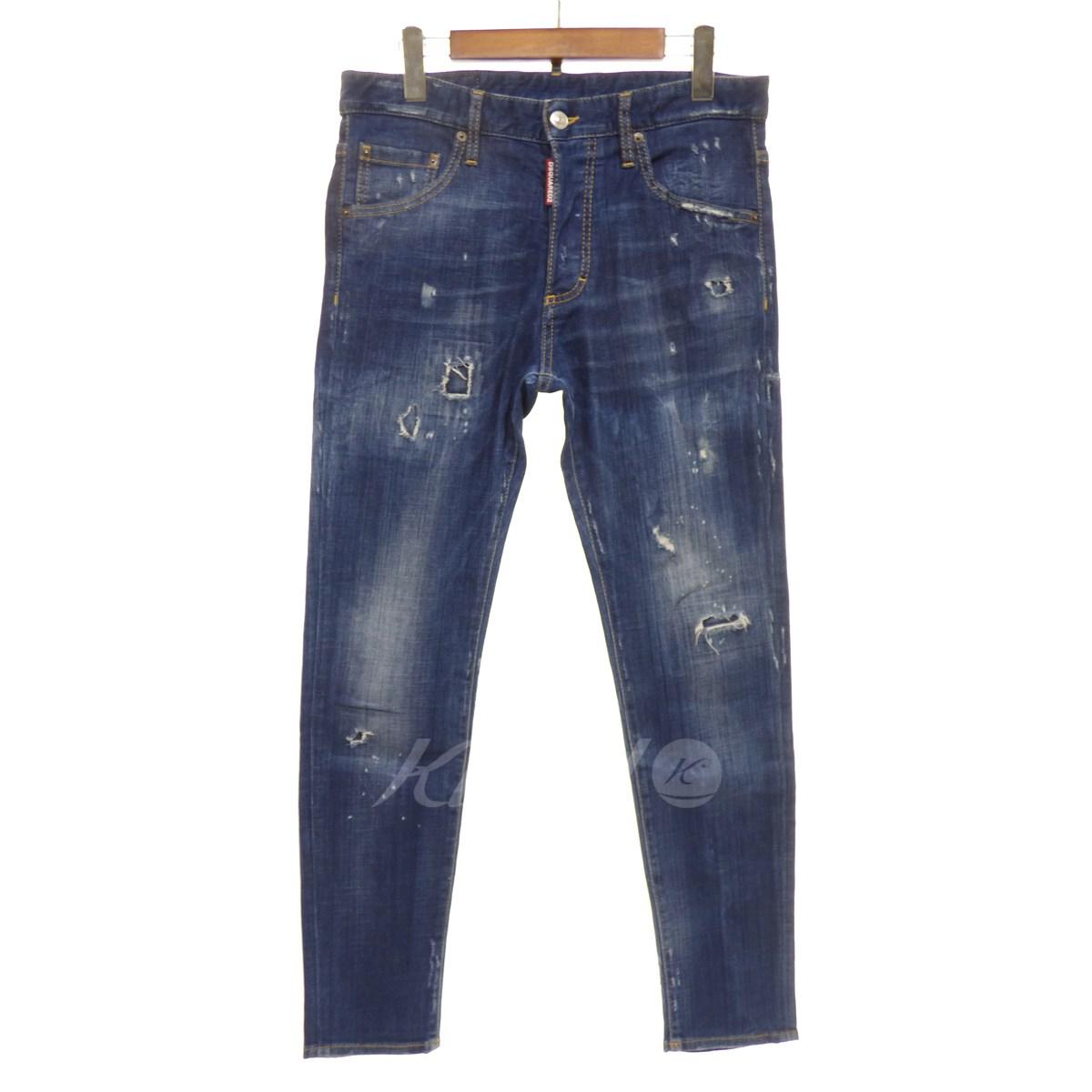 【中古】DSQUARED2 【2016A/W】 Skinny Jeans ダメージ加工デニムパンツ インディゴ サイズ:46 【送料無料】 【120319】(ディースクエアード)