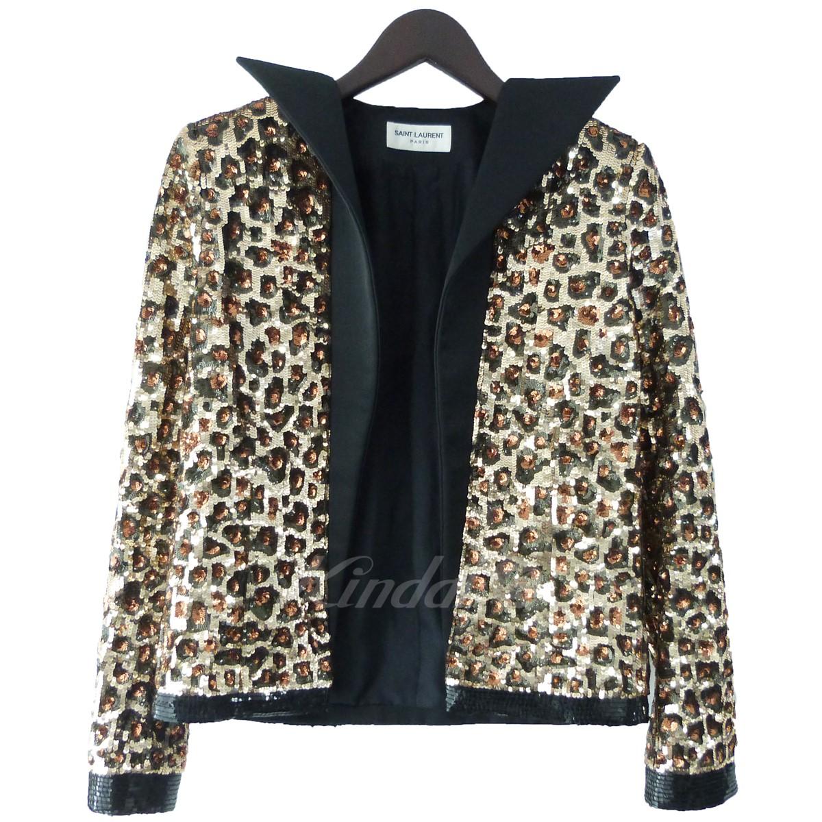 【中古】SAINT LAURENT PARIS 13AW スパンコール装飾レオパードジャケット ブラウン サイズ:F34 【送料無料】 【120319】(サンローランパリ)