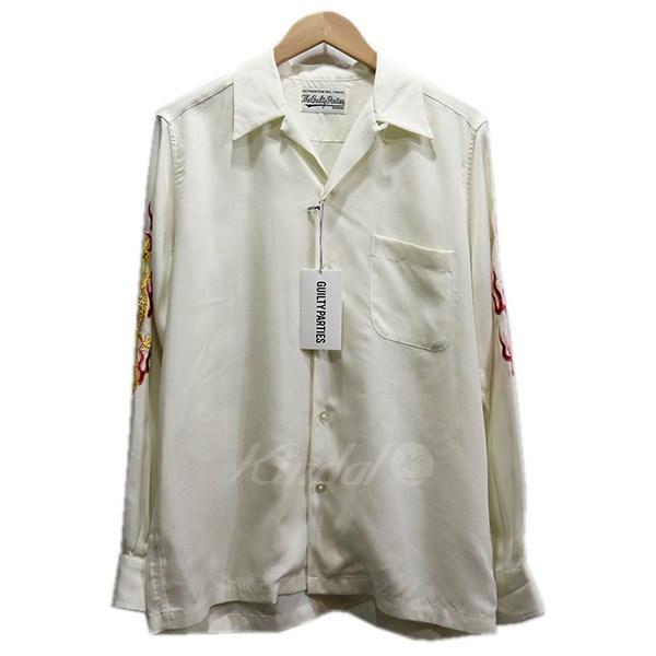 【中古】WACKO MARIA 18AW 50'S SHIRT (TYPE-8) 袖ドラゴン刺繍シャツ ホワイト サイズ:S 【送料無料】 【120319】(ワコマリア)
