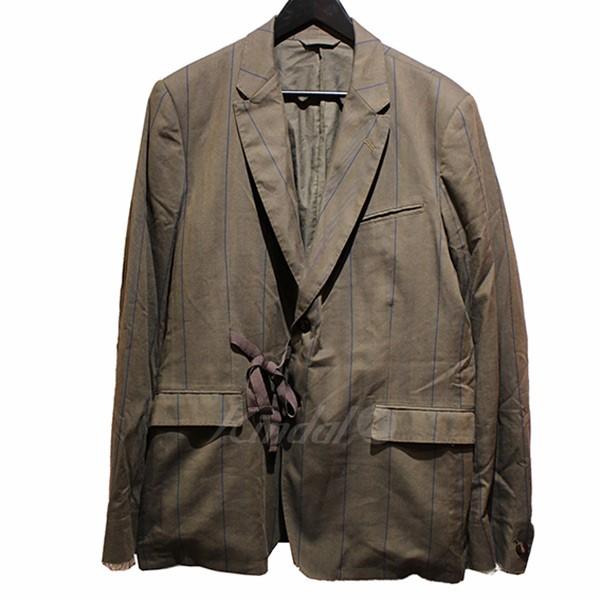 【中古】Maison MIHARA YASUHIRO 2017AW ストライプテーラードジャケット オリーブ サイズ:48 【送料無料】 【120319】(メゾンミハラヤスヒロ)