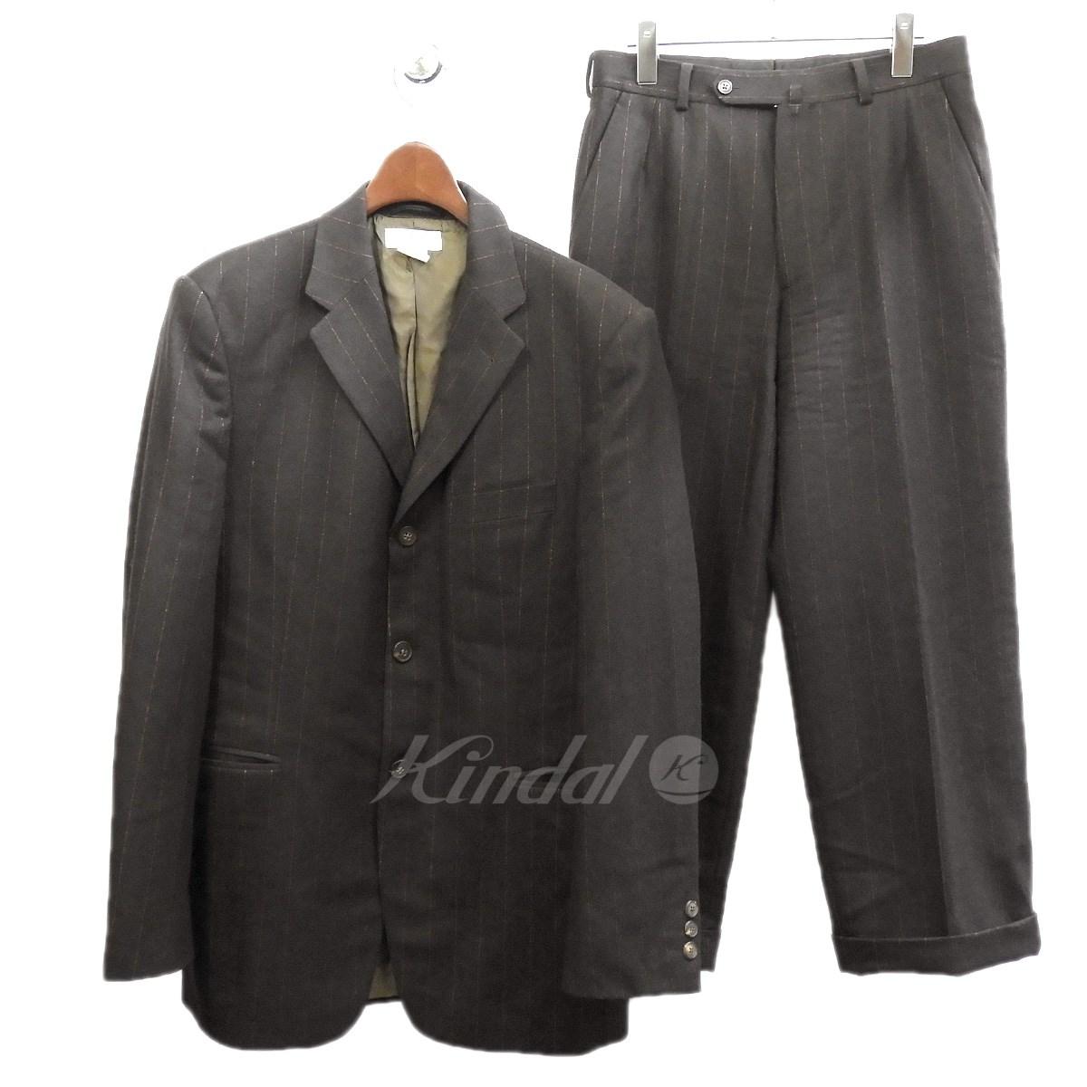 【中古】DRIES VAN NOTEN ストライプセットアップスーツ ブラック サイズ:46/46 【送料無料】 【130319】(ドリスヴァンノッテン)