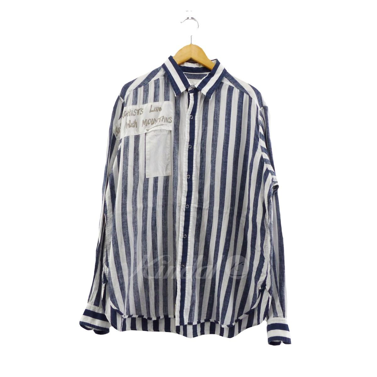 【中古】Mountain Research Anarchist Shirt ストライプシャツ ネイビー×ホワイト サイズ:XL 【送料無料】 【130319】(マウンテンリサーチ)