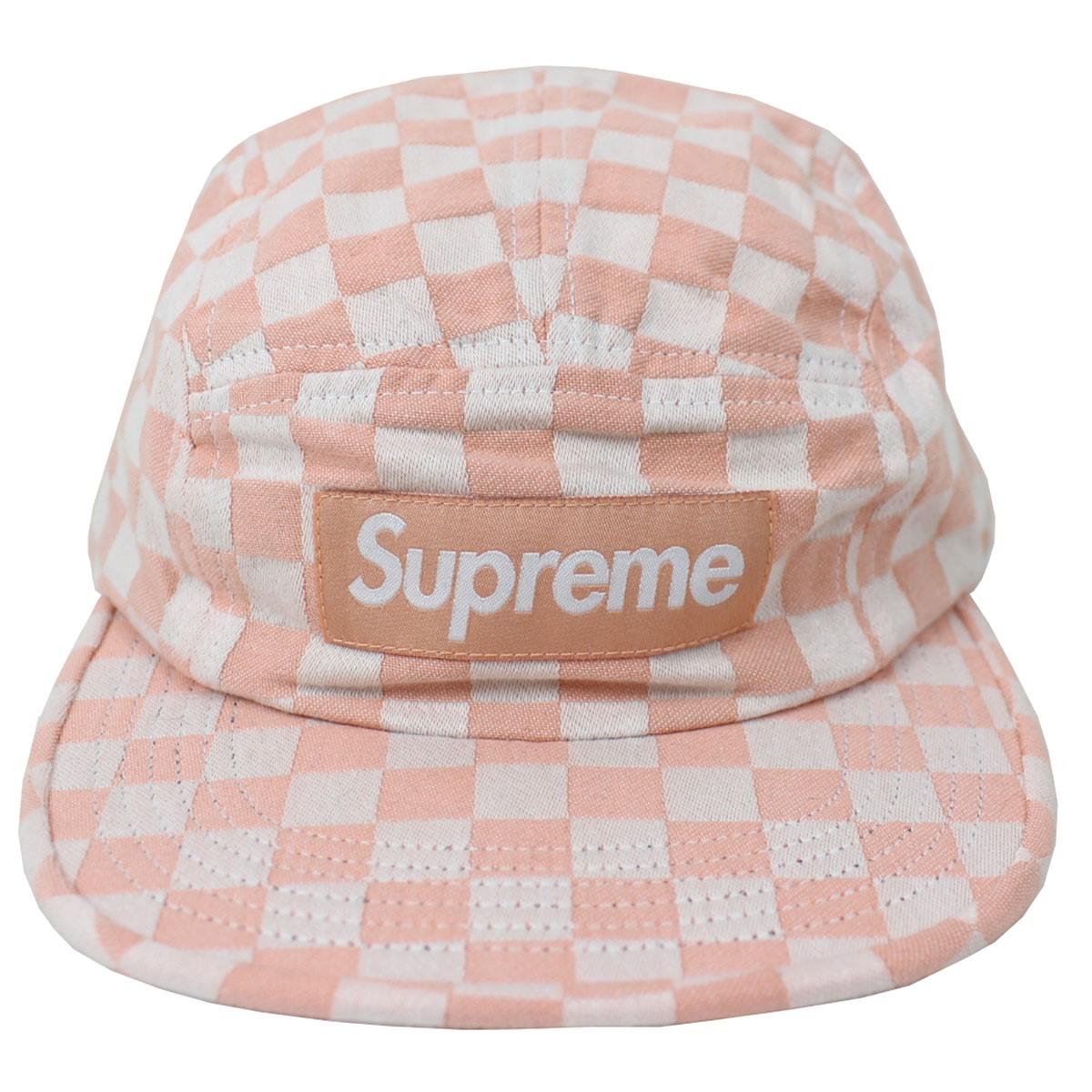 【中古】SUPREME Checkerboard Camp Cap 18SS キャップ 帽子 ピンク、ホワイト サイズ:- 【130319】(シュプリーム)