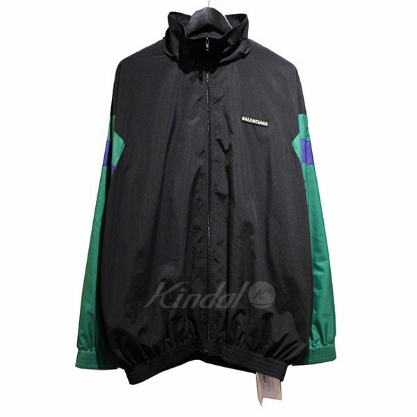 【中古】BALENCIAGA 2018AW ロゴ 刺繍 トラックジャケット ブラック サイズ:46 【送料無料】 【130319】(バレンシアガ)