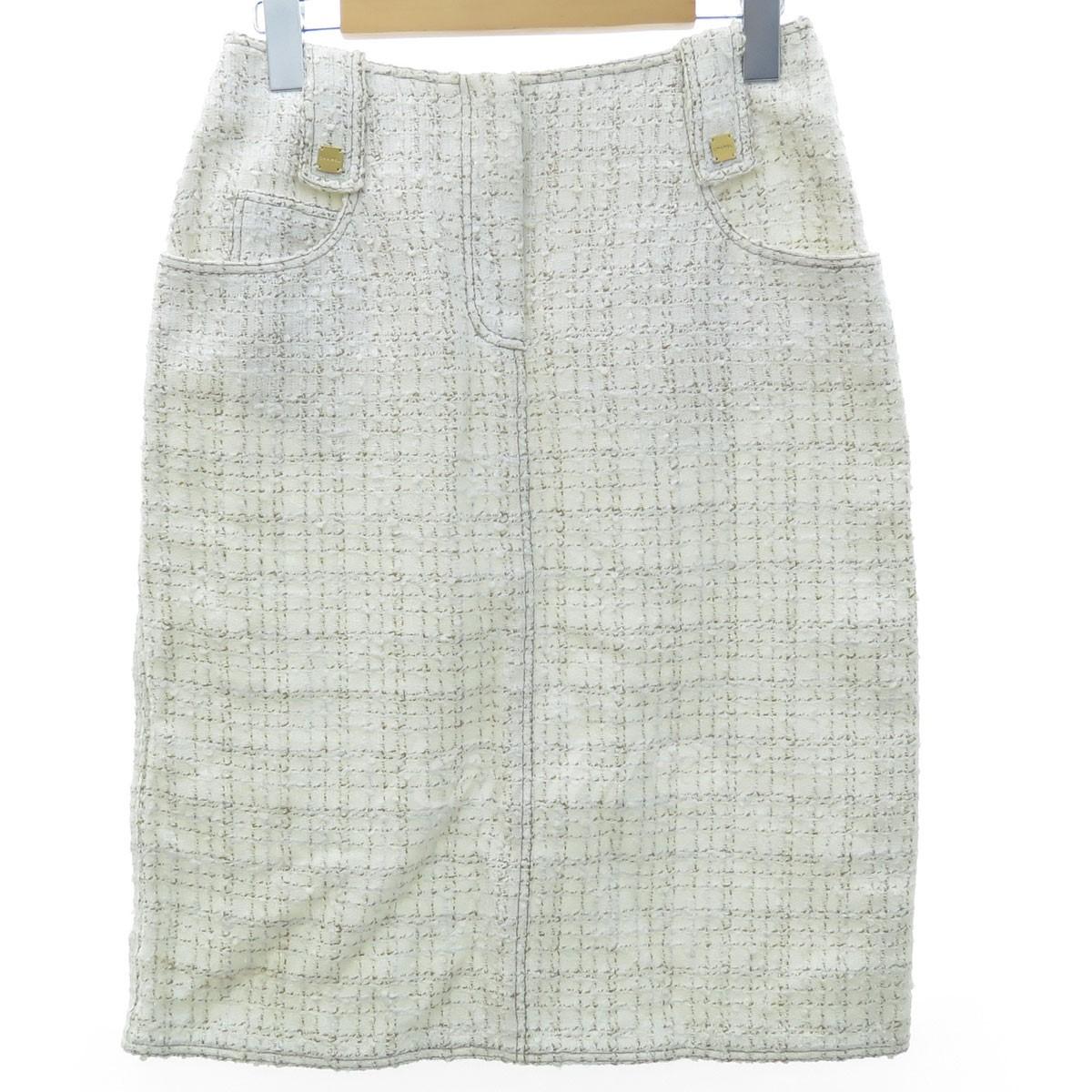 【中古】CHANEL 01P サマーツイードスカート ホワイト サイズ:38 【送料無料】 【140319】(シャネル)