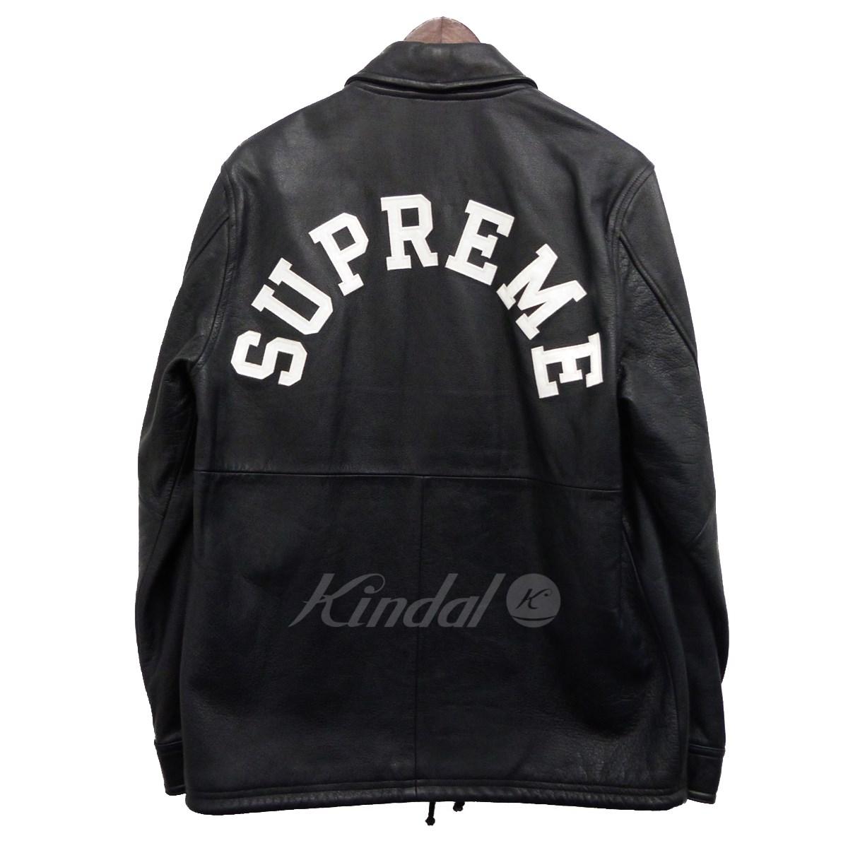 【中古】Supreme x Champion 15AW「Leather Coaches Jacket」レザーコーチジャケット ネイビー サイズ:S 【送料無料】 【140319】(シュプリーム チャンピオン)