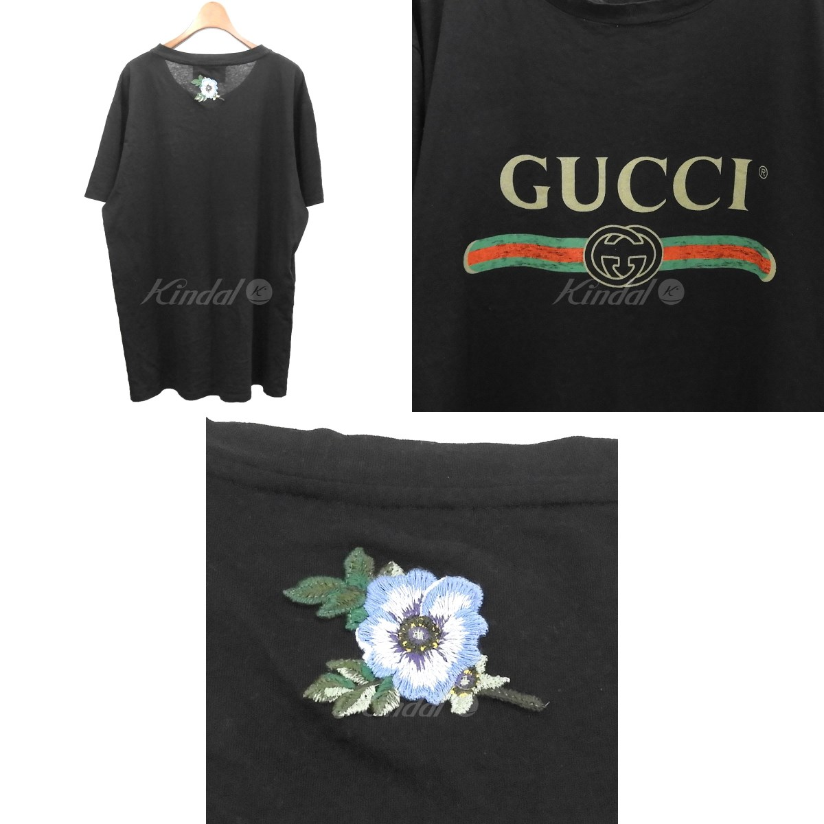 996706149 ... GUCCI 2017SS flower embroidery old logo vintage processing T-shirt  black size: M ...