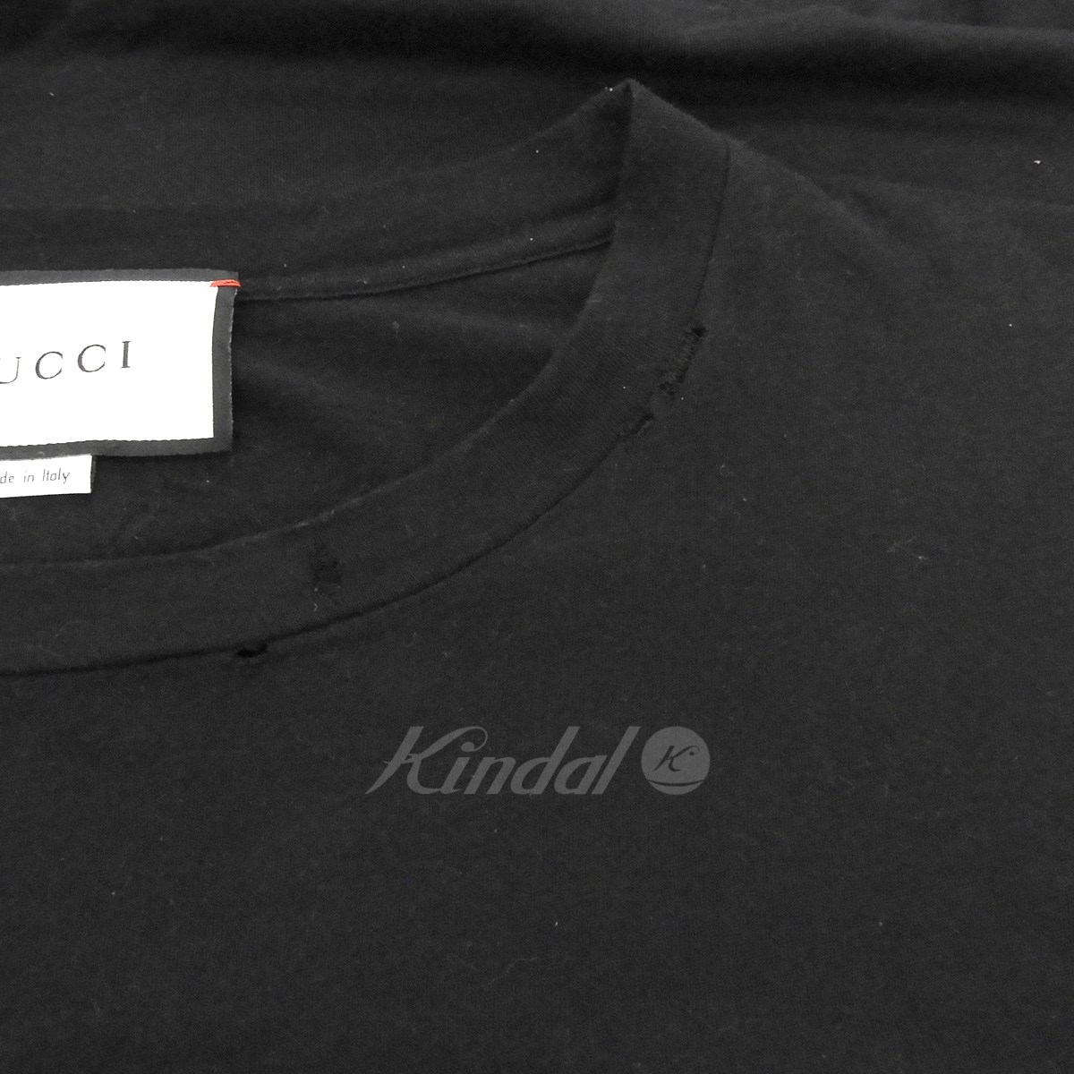 50adea479 GUCCI 2017SS flower embroidery old logo vintage processing T-shirt black  size: M (Gucci)