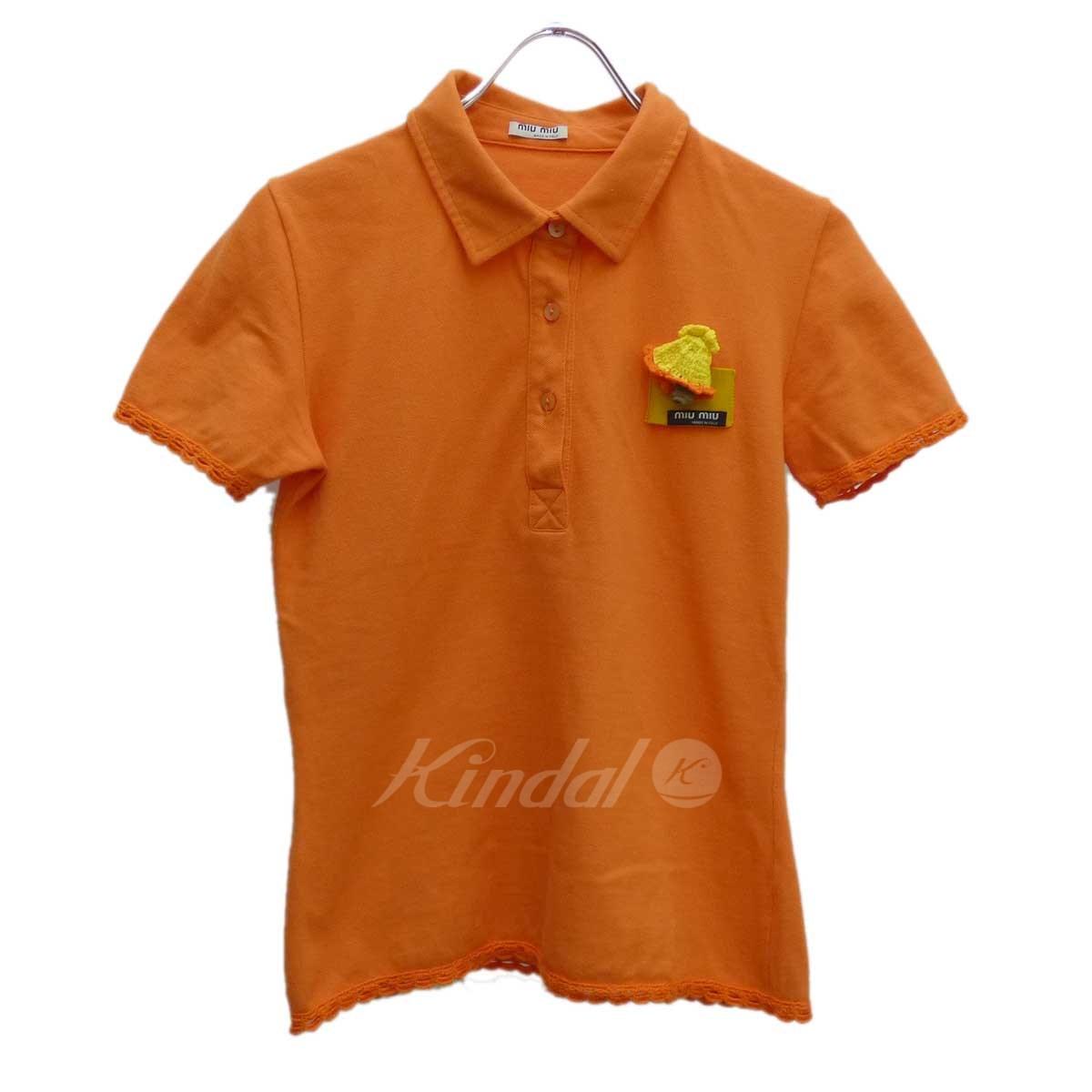 a0e85eebf miu miu chest knit motif short sleeves polo shirt orange size: M (ミュウミュウ)