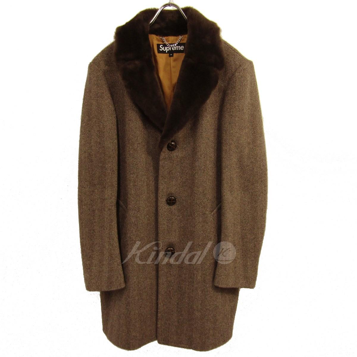 中古 SUPREME 2015AW Fur Collar Tweed Coat 超激安特価 シュプリーム 送料無料 ウールチェスターコート 即納送料無料 ボア サイズ:M 190319 ブラウン