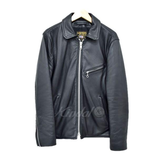 【中古】VANSONEnfield SLIM FIT レザージャケット ブラック サイズ:40 【5月11日見直し】