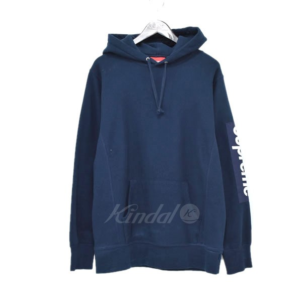 【中古】SUPREME 17SS  Sleeve Patch Hooded Sweatshirt プルオーバーパーカー ネイビー サイズ:M 【送料無料】 【220319】(シュプリーム)