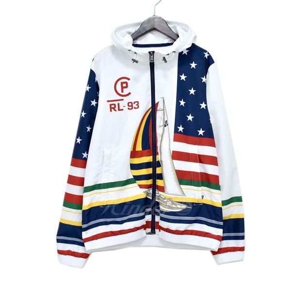 【中古】POLO RALPH LAUREN CP-93 Pacific Wb-Lined Jacket ジップアップフードブルゾン ホワイト×ネイビー他 サイズ:M 【220319】(ポロラルフローレン)