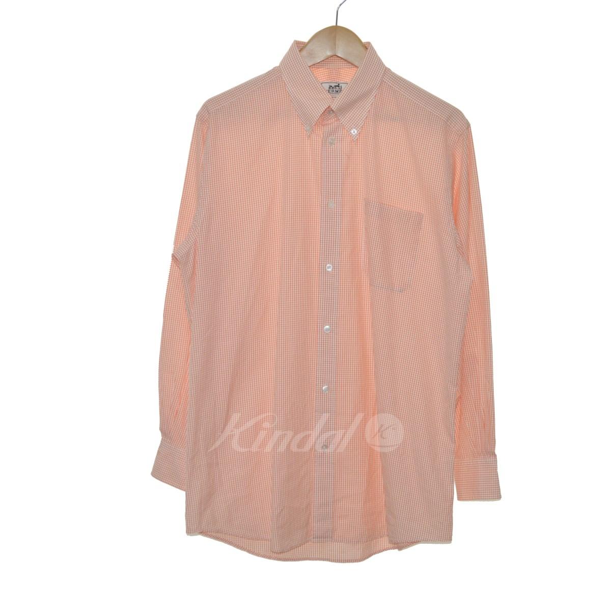 【中古】HERMES セリエボタン ボタンダウンシャツ オレンジ サイズ:39-15 1/2 【送料無料】 【240319】(エルメス)