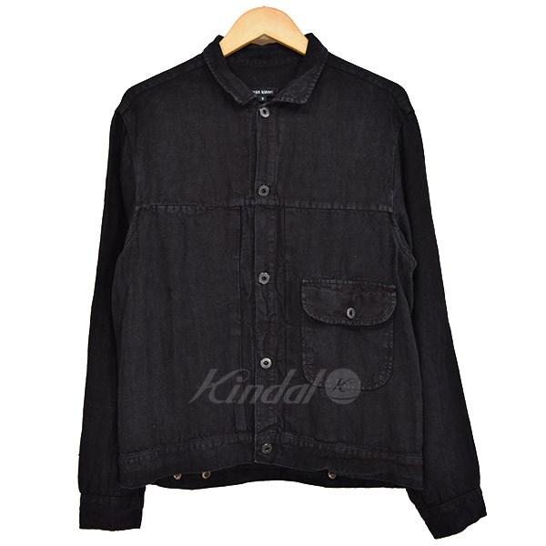 【中古】evan kinori Linen Pleated Jacket リネンジャケット 2017SS ブラック サイズ:S 【240319】(エヴァンキノリ)