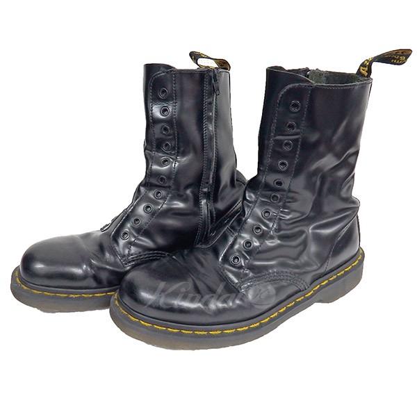 【中古】VETEMENTS x Dr Martens 17SS BODERLINE LEATHER BOOTS ブーツ ブラック サイズ:UK 9 【送料無料】 【240319】(ヴェトモン x ドクターマーチン)