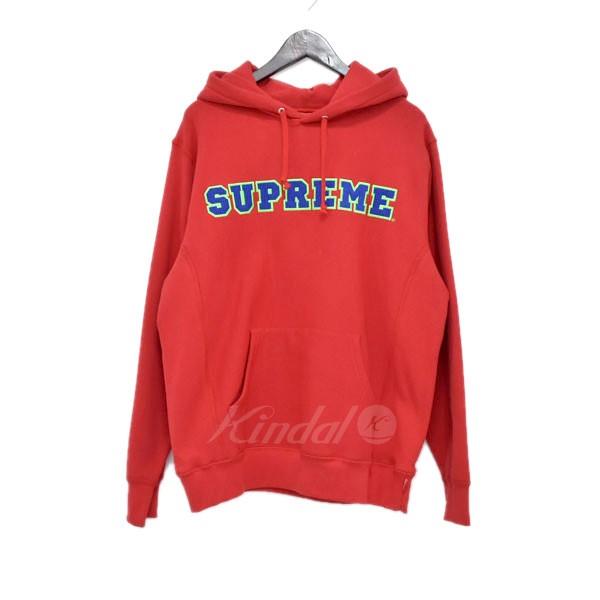 【中古】SUPREME 18SS Cord Collegiate Logo Hooded プルオーバーパーカー レッド サイズ:M 【送料無料】 【280319】(シュプリーム)
