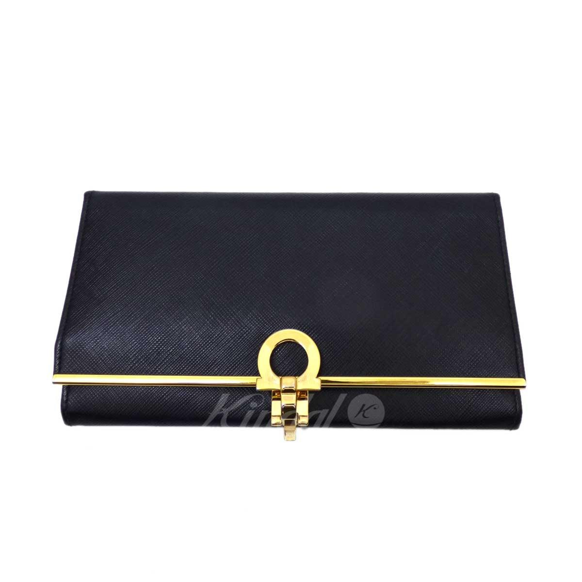 【中古】Salvatore Ferragamo 長財布 ブラック 【280319】(サルヴァトーレフェラガモ)