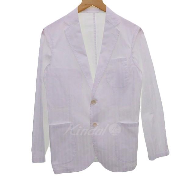 【中古】Belesto 【CIT LUXURY】ストライプシャツジャケット ホワイト サイズ:44 【送料無料】 【280319】(べレスト)