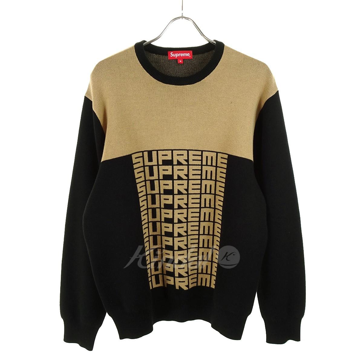 【中古】SUPREME Logo Repeat Sweater 18AW ブラック×ブラウン サイズ:M 【280319】(シュプリーム)