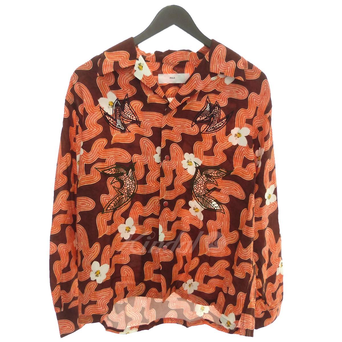 【中古】TOGA PULLA '18SS オープンカラーシャツ ブラウン×オレンジ サイズ:36 【送料無料】 【280319】(トーガ プルラ)