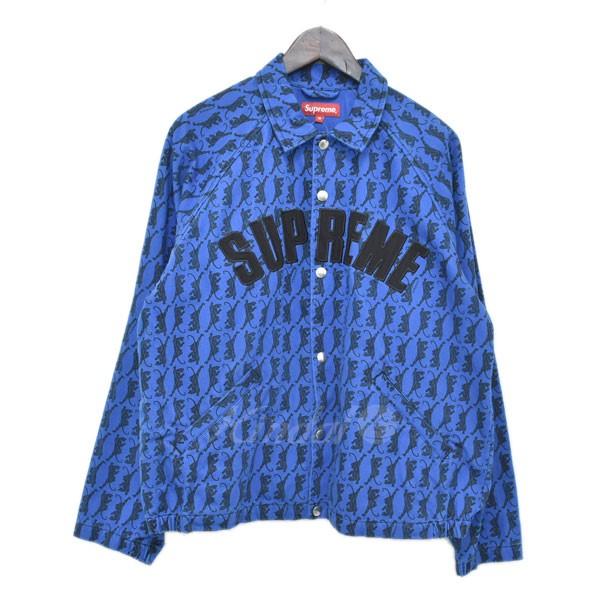【中古】SUPREME 18AW snap front twill jacket アーチロゴ コーチジャケット ブルー サイズ:M 【300319】(シュプリーム)