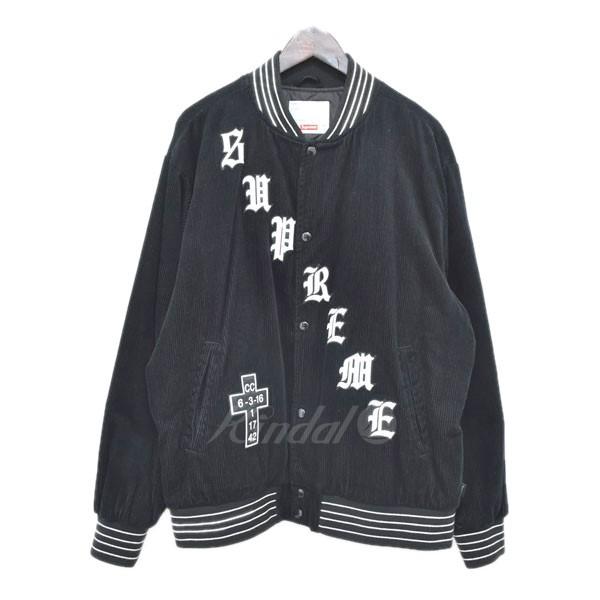 【中古】SUPREME 18SS オールドイングリッシュ コーデュロイ バーシティジャケット ブラック サイズ:L 【送料無料】 【300319】(シュプリーム)
