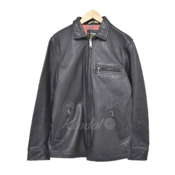 【中古】SCHOTTCLASSIC TRUCK JACKET LEATHER レザージャケット ブラック サイズ:L 【4月23日見直し】