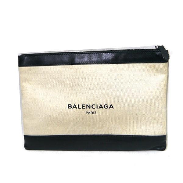 【中古】BALENCIAGA ネイビークリップ クラッチバッグ オフホワイト×ブラック 【送料無料】 【290319】(バレンシアガ)