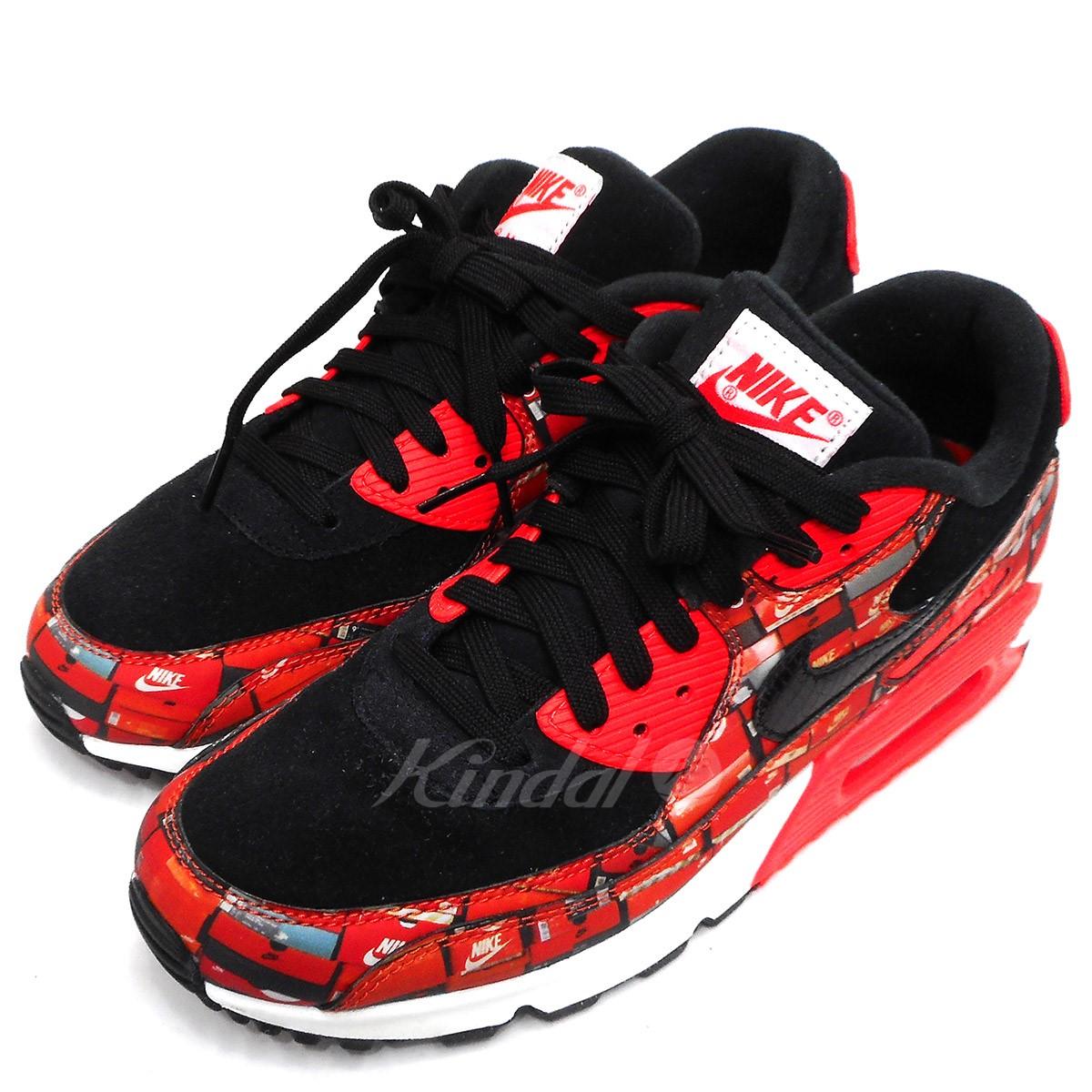 【中古】NIKE×ATMOS AIR MAX 90 We Love Nike エアマックス90 スニーカー ブラック×レッド サイズ:US7.5 【送料無料】 【290319】(ナイキ アトモス)