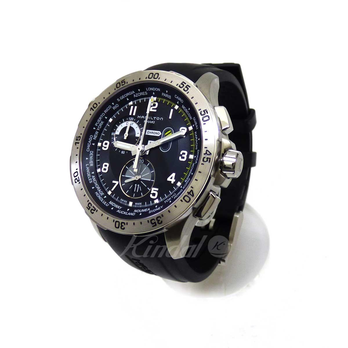 【中古】HAMILTON カーキアビエーション ワールドタイマークロノグロフ クォーツ 腕時計 【送料無料】 【202935】 【KT1636】 【返品不可】