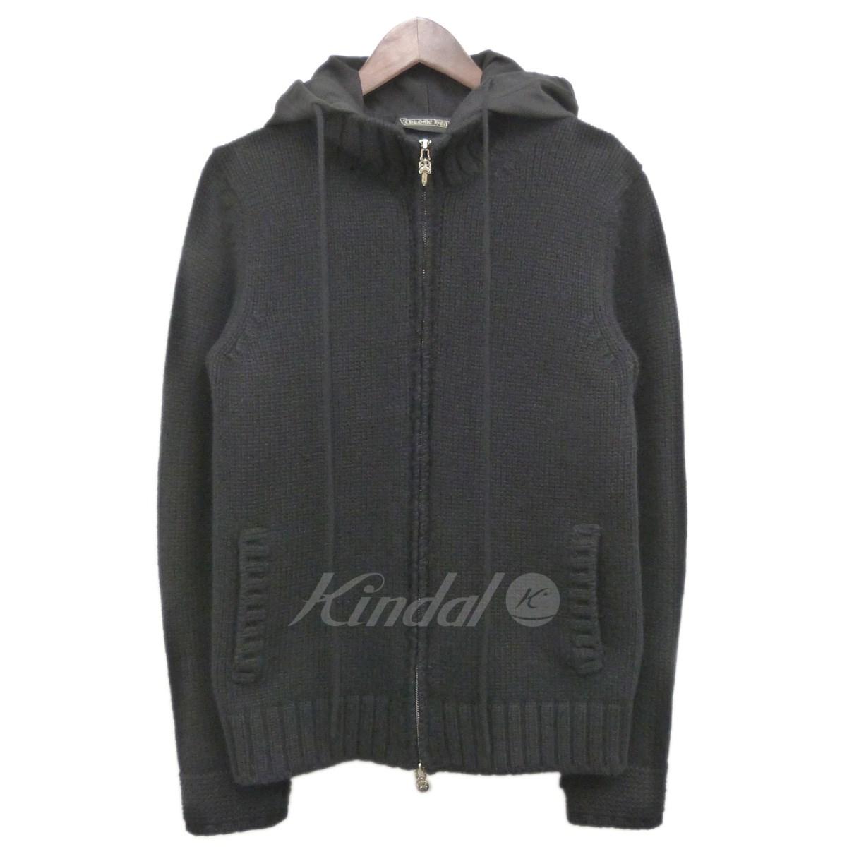 【中古】CHROME HEARTS フーデッドカシミヤニットジャケット ブラック サイズ:S 【送料無料】 【010419】(クロムハーツ)
