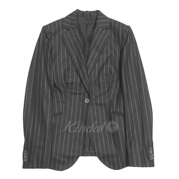 【中古】Kiton ウールストライプ1Bジャケット ネイビー サイズ:44 【送料無料】 【020419】(キトン)