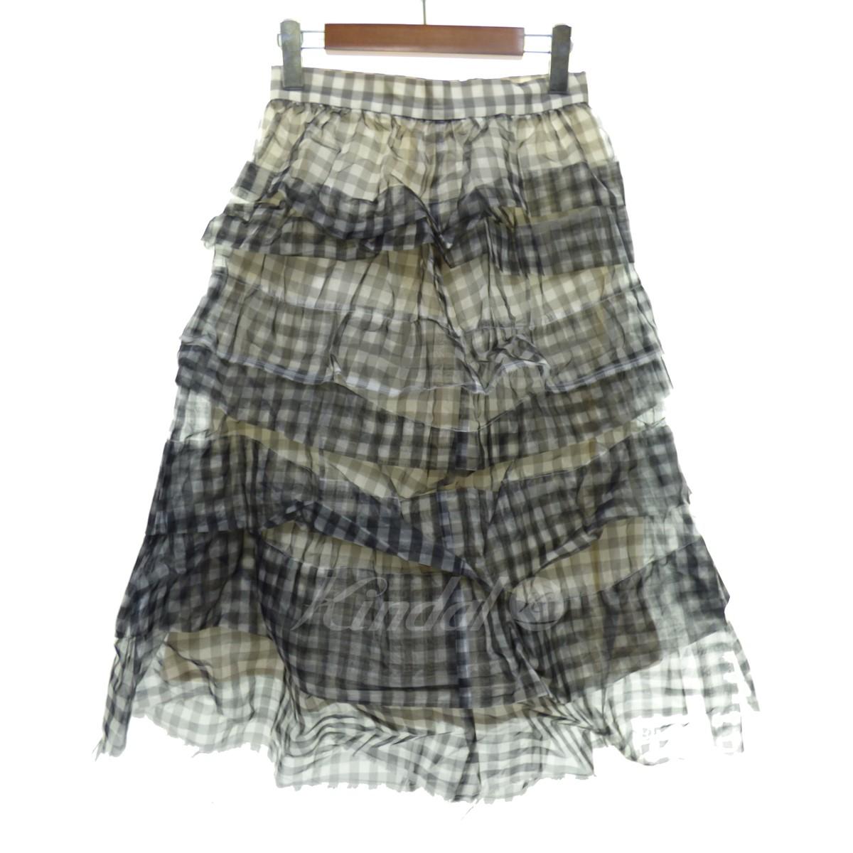 【中古】tricot COMME des GARCONS チェック柄ティアードスカート ブラック×ホワイト サイズ:S 【送料無料】 【040419】(トリココムデギャルソン)