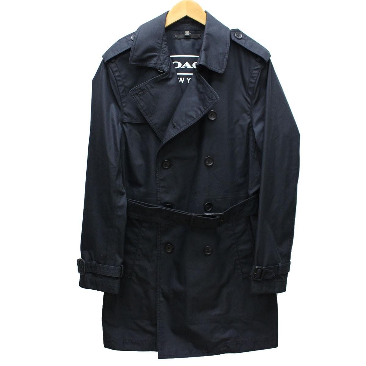 【中古】COACH トレンチコート 国内正規品 ネイビー サイズ:XS 【送料無料】 【030419】(コーチ)