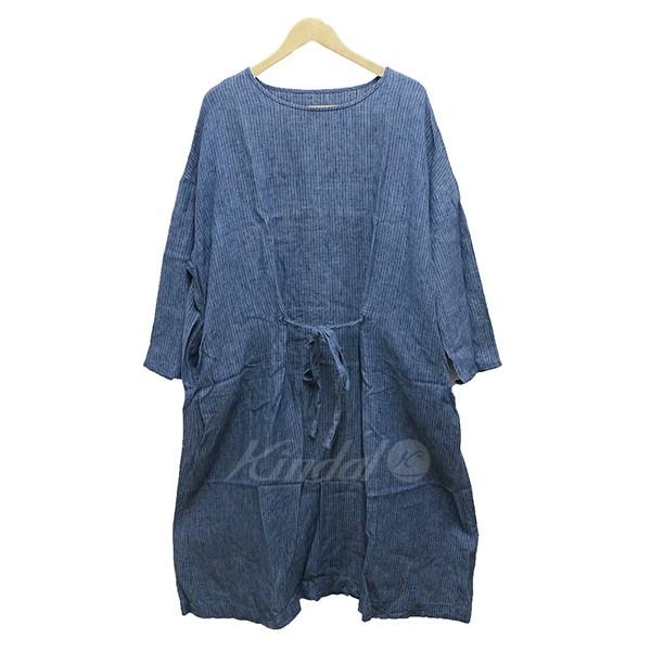 【中古】nest Robe ストライプリネンワンピース15SS ブルー 【030419】(ネストローブ)