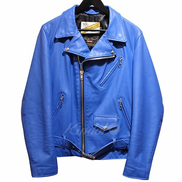 【中古】SUPREME × UNDER COVER ×Schott 2015SS Perfecto Leather Jacket レザーダブルライダースジャケット ブルー サイズ:M 【送料無料】 【030419】(シュプリーム アンダーカバー ショット)