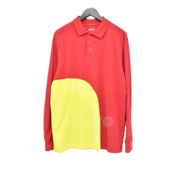 735d04d9a9fb SUPREME 18SS Corner Arc L/S Polo corner arch long sleeves polo shirt red  size ...