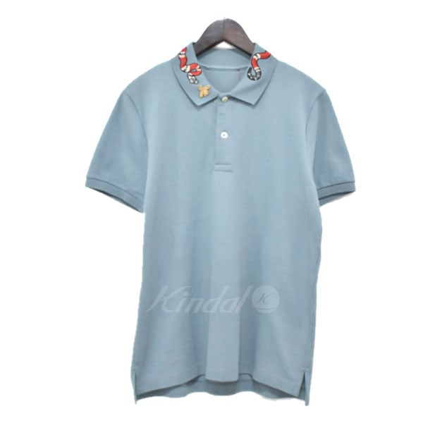 1e9c67566 GUCCI 17SS snake embroidery short sleeves polo shirt blue size belonging  to: S (Gucci ...