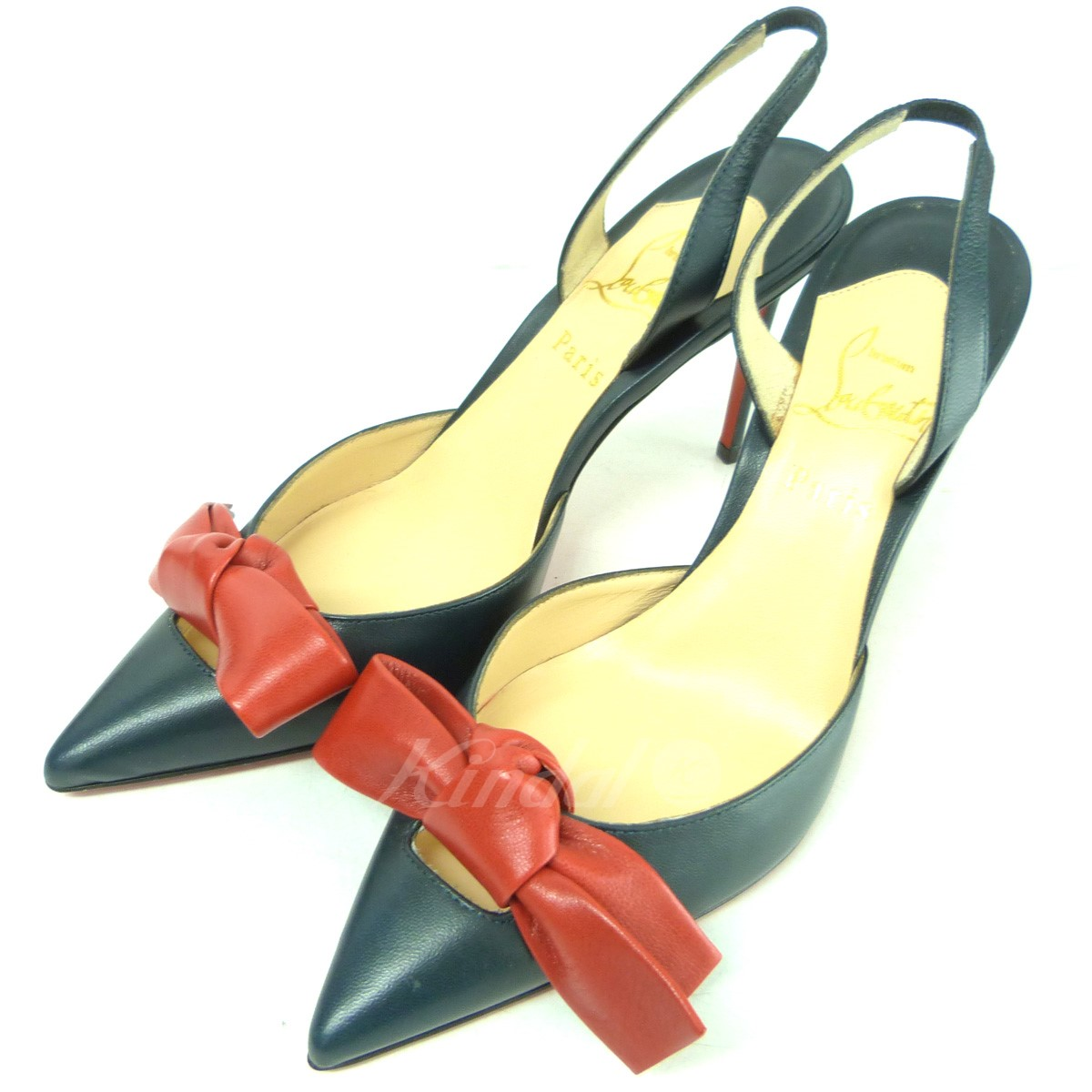 half off 699be 0ce45 CHRISTIAN LOUBOUTIN ribbon pumps navy size: 35 (クリスチャンルブタン)